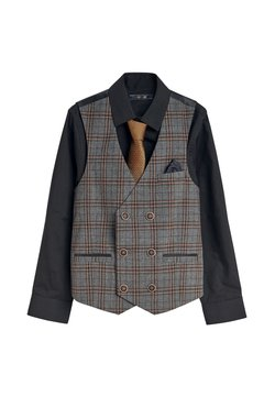 Next - SINGLE BREASTED CHECK WAISTCOAT, SHIRT AND TIE SET  - Gilet elegante - grey