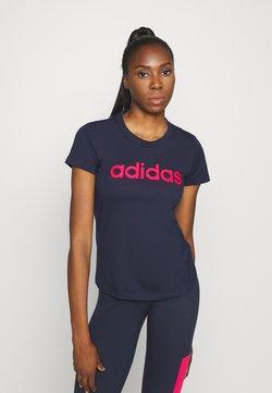adidas Performance - ESSENTIALS SPORTS SLIM SHORT SLEEVE TEE - Printtipaita - dark blue/pink