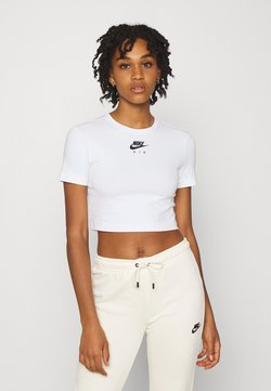 Nike Sportswear - AIR CROP - Camiseta estampada - white/black