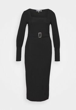 Missguided Plus - SQUARE NECK SELF BELT MIDAXI DRESS - Korte jurk - black