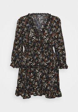 Missguided Plus - FRILL CUFF SKATER DRESS POLKA - Kjole - black