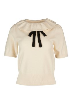 Oliver Bonas - FRILL NECK & PUSSY BOW KNITTED - Top - ivory