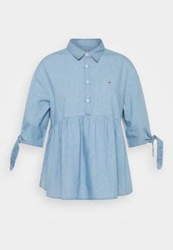 Tommy Jeans - CHAMBRAY BOW SLEEVE - Overhemdblouse - mid indigo