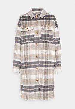 ONLY - ONLHANNAH CHECK LONG SHACKET  - Manteau classique - light grey melange/light brown