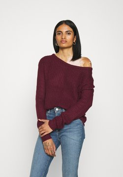 Missguided - OPHELITA OFF SHOULDER JUMPER - Jersey de punto - burgundy
