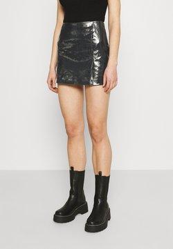 Weekday - JULES COATED SKIRT - Mini skirt - washed black