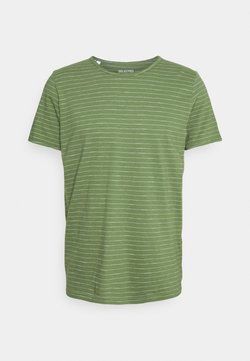Selected Homme - SLHMORGAN STRIPE O NECK TEE - T-Shirt print - vineyard green/egret