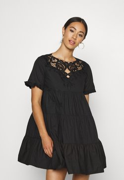 Missguided - POPLIN CROCHET SMOCK DRESS - Cocktail dress / Party dress - black