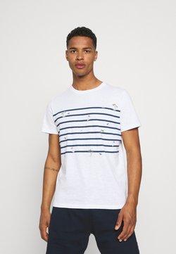 Jack & Jones - JORPLAYA STRIPE TEE CREW NECK - T-Shirt print - white