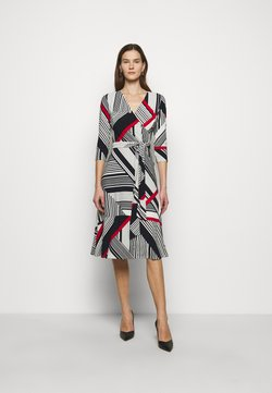 Lauren Ralph Lauren - PRINTED MATTE DRESS - Freizeitkleid - cream/red
