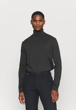 Selected Homme - SLHBERG ROLL NECK - Strickpullover - antracit melange