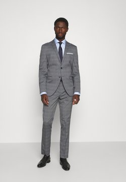 Selected Homme - SLHSLIM-NAS GREY CHECK SUIT - Anzug - grey/blue/white