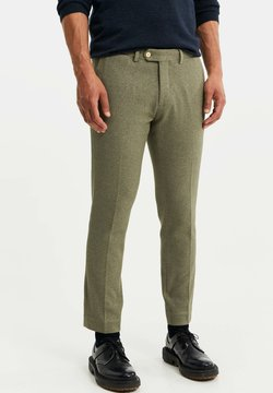WE Fashion - HEREN SLIM FIT PANTALON - Tygbyxor - olive green