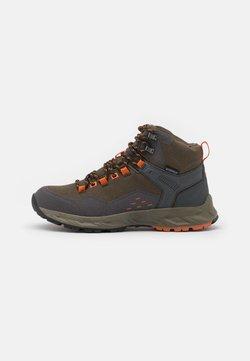 Hi-Tec - VERVE MID WP - Hiking shoes - khaki/dark grey/orange