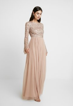 Maya Deluxe - ROUND NECK DELICATE SEQUIN BELL SLEEVE MAXI DRESS WITH SKI - Ballkleid - taupe blush