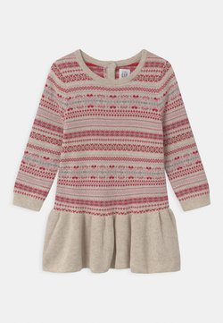 GAP - FAIRISLE - Gebreide jurk - oatmeal heather