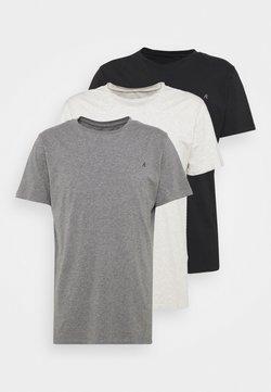 Replay - CREW TEE 3 PACK - T-shirt basic - chalk melange / black / dark gery melange