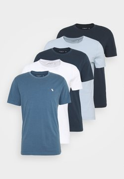 Abercrombie & Fitch - ICON CREW 5 PACK  - T-shirts basic - blue
