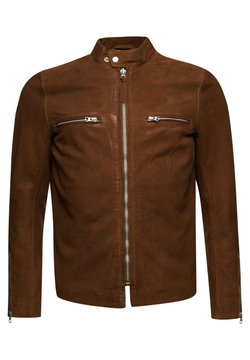 Superdry - RACER - Giacca di pelle - tobacco