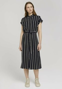 TOM TAILOR DENIM - MIT GÜRTEL - Blusenkleid - black beige vertical stripe
