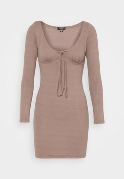 Missguided - DRAWSTRING TIE BUST MINI DRESS - Vestido de punto - brown