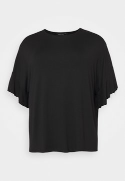 CAPSULE by Simply Be - BOXY RUFFLE SLEEVE  - Camiseta básica - black