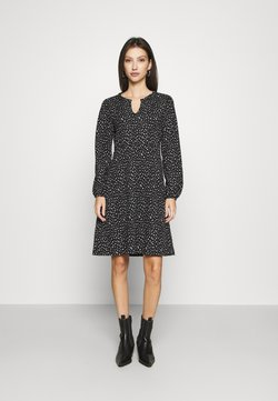 ONLY - ONLZILLE FRILLNECK DRESS  - Freizeitkleid - black/white ditsy