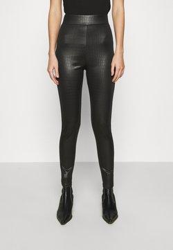 Topshop - CROC WETLOOK - Leggings - Hosen - black