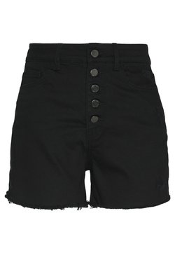 Lost Ink - BUTTON FRONT MOM  - Jeansshort - black