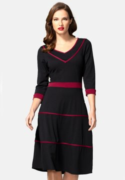 HotSquash - V NECK DRESS WITH CONTRAST PIPING - Freizeitkleid - black and burgundy