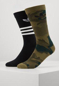 adidas Originals - CREW 2 PACK - Chaussettes - black/olive cargo