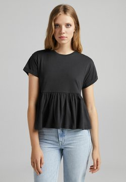 Bershka - MIT KURZEN ÄRMELN UND VOLANTS - T-shirt z nadrukiem - black