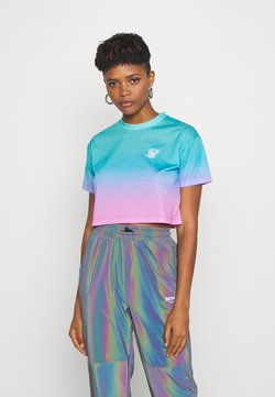 SIKSILK - FADE CROP TEE - Print T-shirt - turquoise/pink