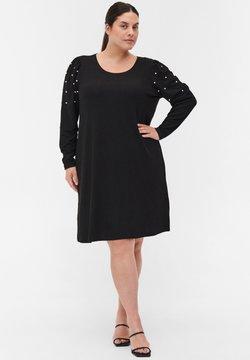 Zizzi - langen Puffärmeln und Perlen - Abito in maglia - black