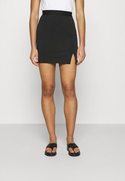 Zign - Mini princess seams skirt high waisted with slit - Gonna a tubino - black