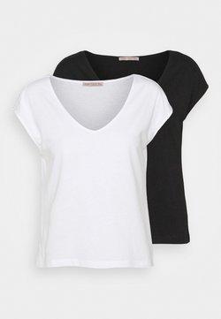 Anna Field Petite - 2 PACK - Camiseta básica - black/white