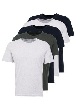 Pier One - 5 PACK - T-shirt basic - dark blue/grey/khaki