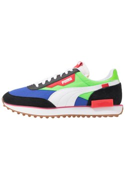 Puma - FUTURE RIDER PLAY ON UNISEX - Sneakers laag - black/fluo green/dazzling blue