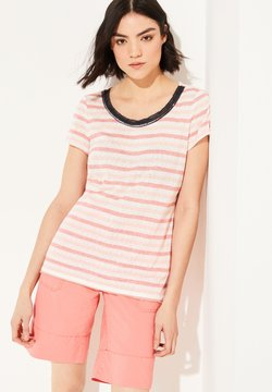 comma casual identity - MIT EMBROIDERY - T-Shirt print - light coral stripes