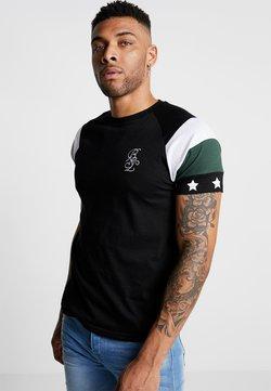 Brave Soul - STAR - T-shirt con stampa - black/white/bottle green