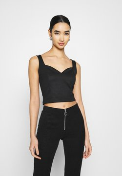 Even&Odd - SWEETHEART NECKLINE SLEEVELESS CROP - Top - black