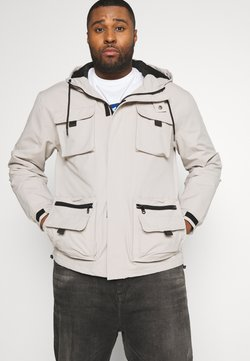 River Island - MULTI POCKET UTILITY FUNNEL HOODED - Veste légère - stone