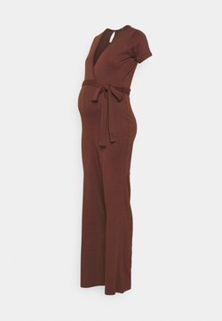 Missguided Maternity - WRAP BELTED - Jumpsuit - chocolate