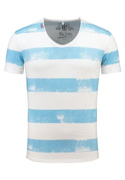 Key Largo - MT AIRFLIGHT - T-Shirt print - offwhite-blue