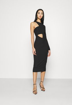 Missguided - CUT OUT ONE SLEEVE MIDI DRESS - Vestido ligero - black