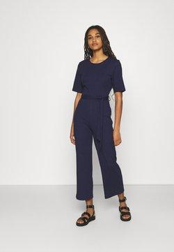 Even&Odd - BASIC - Ribbed short sleeves belted jumpsuit - Combinaison - dark blue