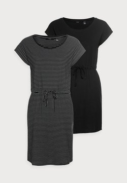 Vero Moda Petite - VMAPRIL SHORT DRESS 2 PACK - Jerseykleid - black/black /snow white