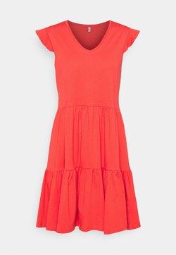 ONLY Tall - ONLMAY LIFE CAP FRILL DRESS - Vestito di maglina - cayenne