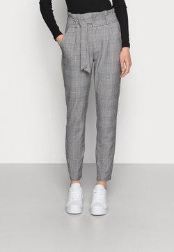 Vero Moda - VMEVA PAPERBAG CHECK PANT - Stoffhose - grey/white