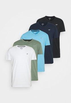 Hollister Co. - 5 PACK - T-shirt imprimé - white/blue/sage/navy/black